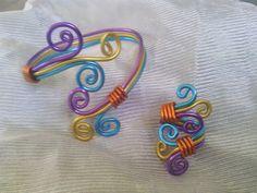 Pulsera y anillo en alambre