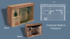 Living A Doll's Life : DIY - Georgian Colonial Open Hearth Doll Furniture, Dollhouse Furniture, American Girl Diy, Brick Fireplace, Fireplace Mantels, Tiny World, Fireplace Accessories, Dollhouse Miniatures, Dollhouse Ideas