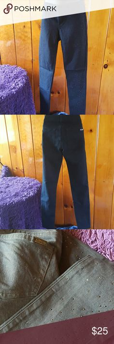 Jennifer Lopez Bling Jeans Used Twice! I gain weight so they don't fit anymore. Dark Navy blue color, with black rhinestones all over the legs, a couple fell but you can notice when wearing. Loved this jeans, but they deserve a new home. Jennifer Lopez Jeans Skinny