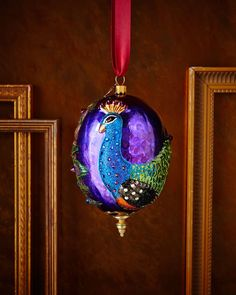JAY STRONGWATER Peacock Oval Christmas Ornament $135 PICK UP OR SHIPS FREE (Compare elsewhere at $155+)  agnellinos.com