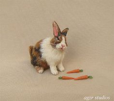 OOAK 1:12 Dollhouse Miniature Rabbit Bunny Animal Furred Realistic Handmade IADR