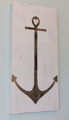 Distressed White Anchor Wood Sign - Art - Home Decor would be soccute in my girls nautical room