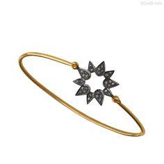 14k Yellow Gold 0.18 Ct Natural Diamond Sun Design Bangle Handmade Bracelet Fine #Handmade