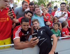 Steven Gerrard with fans while on American tour