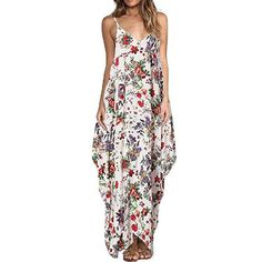 Print Floral Loose Boho Bohemian Beach Dress Women Strap V-Neck Retro  Vintage Long Maxi Dress Summer Bohemian Plus Size 3XL ff6221f96e1e
