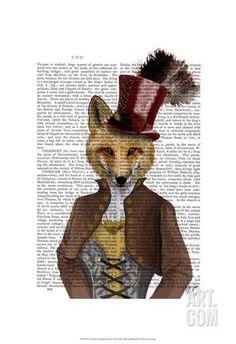 Vivienne Steampunk Fox Art Print by Fab Funky at Art.com
