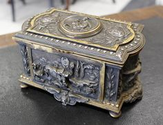 A 19th century French silvered brass casket