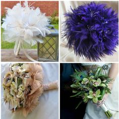 feather bouquets I like the purple one!!