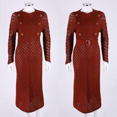 Vtg COUTURE c.1940's Chevron Crochet Knit Sail Boat Buttons Belt Sailor Dress | eBay