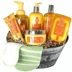 Luxury Spa Pampering Gift Basket with Organic Honey Products -   - http://giftbasketblessings.com/product/luxury-spa-pampering-gift-basket-with-organic-honey-products/
