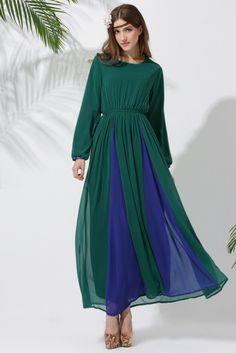 Middle East Long sleeve abayas chiffon Muslim Vintage clothing patchwork  color Islamic women abaya Dubai kaftan 9b38e5596f35