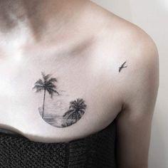 69 Ideas Tropical Landscape Tattoo Palm Trees For 2019 Sunrise Tattoo, Sunset Tattoos, Ocean Tattoos, Body Art Tattoos, Tattoos For Women Small, Small Tattoos, Tattoos For Guys, Cool Tattoos, Small Beach Tattoo