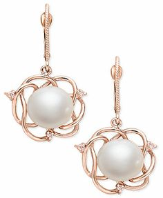 14k Rose Gold Earrings, Cultured Freshwater Pearl and Diamond Accent Earrings