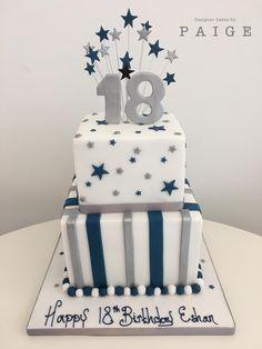 Boys birthday cake with stripes and stars 18th Birthday Ideas For Boys, Boys Bday Cakes, 40th Birthday Cakes For Men, 2 Tier Birthday Cakes, Boy 16th Birthday, Birthday Cupcakes, Black And Gold Birthday Cake, 18th Cake, Mehndi Decor