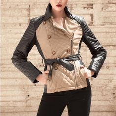 New Neiman Marcus Leather Color block Trench M Brand new genuine leather Belted trench Neiman Marcus Jackets & Coats Trench Coats