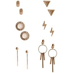 GUESS Kat Lightning Earrings Set ($25) ❤ liked on Polyvore featuring jewelry, earrings, triangle jewelry, lightning bolt jewelry, rhinestone stud earrings, guess jewelry and rhinestone earrings