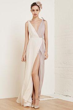 Model wears Bi-Color Romantica Dress for lookbook photoshoot