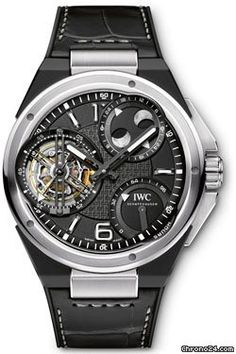 IWC Ingenieur Constant-Force Tourbillon $255,195 #IWC #watch #watches #chronograph  46 mm platinum and ceramic case, sapphire-glass back, screw-in crown, black dial