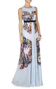 BCBGMAXAZRIA Kayda Halter-Neck Pleated Print-Blocked Gown, Shadow Blue Multi Combo