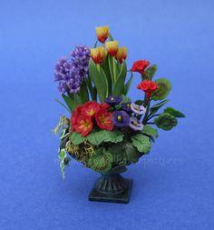 Miniature+Dollhouse+Flower+Arangment+Geranium+Flowers+Plant+1:12+Scale+New