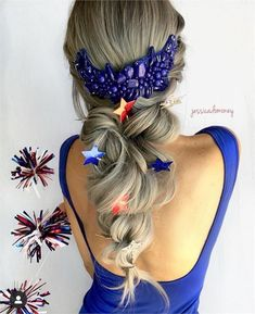 11 Patriotic Looks that Will Steal Any Firework Show - Inspiration - Modern Salon Special Occasion Hairstyles, Holiday Hairstyles, Cool Hairstyles, Hairstyle Ideas, Hair Color Blue, Blue Hair, Short Hair Cuts, Short Hair Styles, Pink Pewter