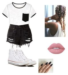 """Untitled #27"" by alyssahislope22 ❤ liked on Polyvore featuring Converse and Lime Crime"