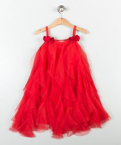 Look at this Lili Varicelli Red Ruffle A-Line Dress - Toddlers
