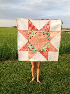 giant star quilt made from layer cake