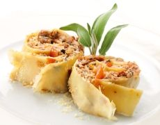 Rotolo van crèpes met groente uit de tuinen van Italië
