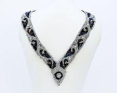 V Shape Border Sequins Black and Silver Beaded by felinusfabrics