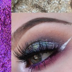 Galaxy inspired makeup look with bold lashes and silver eyeliner
