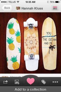 I already want a penny board really bad and these are even cuter! pineapple henna and an ocean theme Penny Boards, Art Boards, Penny Board Tumblr, Skate Longboard, Skate Surf, Skateboard Design, Skateboard Decks, Penny Skateboard, Painted Skateboard