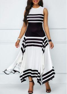 Slit Sleeveless Summer Dress Elegant A-Line Long Maxi Dress Black White Striped Party Dress Women Beach Casual Vestidos O-Neck Simple Dresses, Elegant Dresses, Casual Dresses, Beautiful Dresses, Hijab Casual, Dresses Dresses, Trendy Dresses, Dresses Online, Wedding Dresses