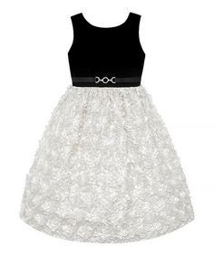 Take a look at this Black Velvet & Ivory Bow Sleeveless Dress - Girls on zulily today!