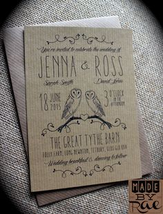 Kraft Owl Rustic Wedding Invitations Stationery, also available on white, natural white or ivory textured card. Made By Rae Designs.