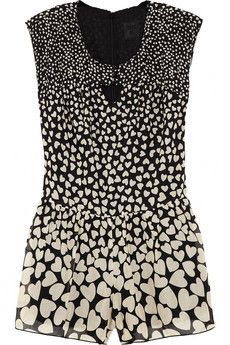 Anna Sui Heart-print cotton and silk-blend playsuit