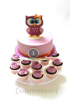 Baby owl themed whipped cream frosted cakes n cupcakes#Cakestronomique