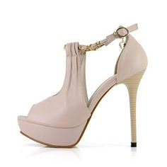 Cutout Nude High Heel Sandals