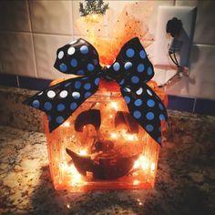 Pumpkin glass block. Selling for $30!