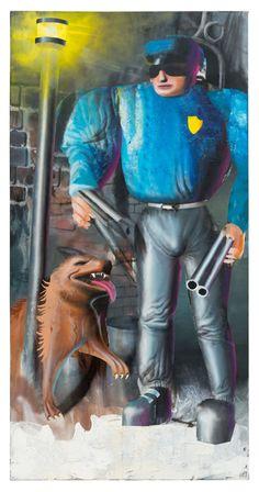 Polizist mit Hund, 2015, 160x80cm, Acryl auf Leinwand