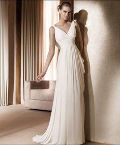 Wholesale Cheap Customer-Made V-Neck Empire Wasit Straps Sheath / Column Sweep Train Chiffon Satin Beach Wedding Dress for Brides