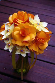 <3 Paper Flower Bouquet Wedding origami rose by MyArteasure on Etsy, $45.00