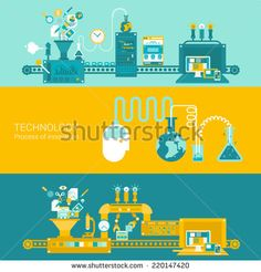 process factory technology plant concept flat icons and vector web banners illustration print materials website click infographics elements collection Factory Icon, Rube Goldberg Machine, Site Vitrine, Presentation, Flat Illustration, Illustrations, Web Design, Flat Design, Infographic