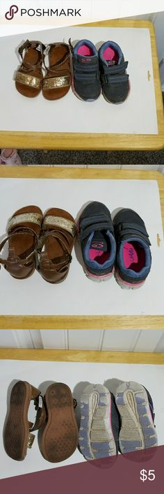 Size 7 toddler girls shoes Size 7 toddler girls shoes Champion shoes (gray with blue accents)  Oshkosh sandels (brown /gold) Shoes
