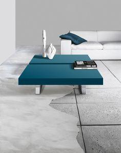 Alianto coffee tables with chrome base and matt verdo oceano lacquered tops.__ Tavolini Alianto con basamento cromato e piani laccato opaco verde oceano.