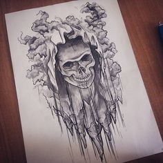 "Polubienia: 0, komentarze: 1 – Kat O. (@dogekat) na Instagramie: ""🔥🔥Some ❌#dopeshit has been done here in #wroclaw. 🔥🔥 #skulldrawing #tattooideasketches #tattooideas…""  #skull #tatto # drawing #black"