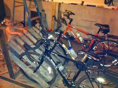 family//bike//words: Rustic Bike Rack Diy Bike Rack, Riding Bikes, Bmx Racing, Four Kids, Balance Bike, Bike Store, Bicycle, Rustic, Biking