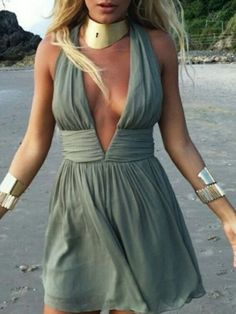 Green, Deep V Neck, Cut Out Back, Ruched Dress, Sleeveless, Mini Dress