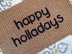 Happy Holladays Christmas Welcome Mat  Fun by SweetSiennaDesigns