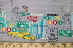 New York City Fabric  One 1 Yard  Times Square by LinasStitch, $9.50